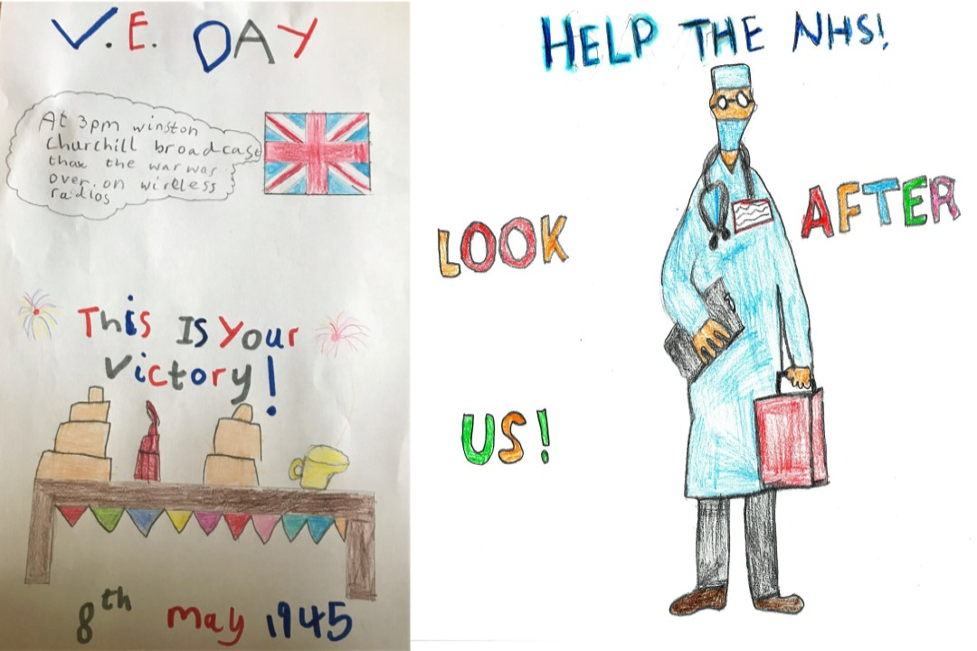 Furze Infant School VE Day Banner designs