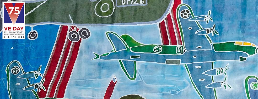 VE Day 75 batik drawing of planes