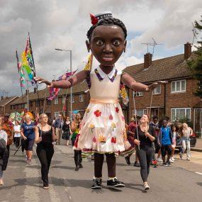 Tilbury puppet girl at Tilbury carnival