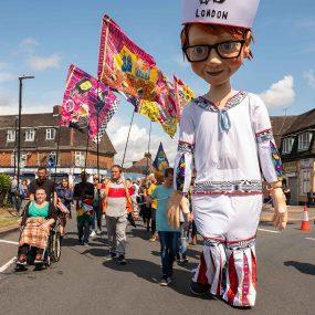 Tilbury puppet sailor on Tilbury carnival
