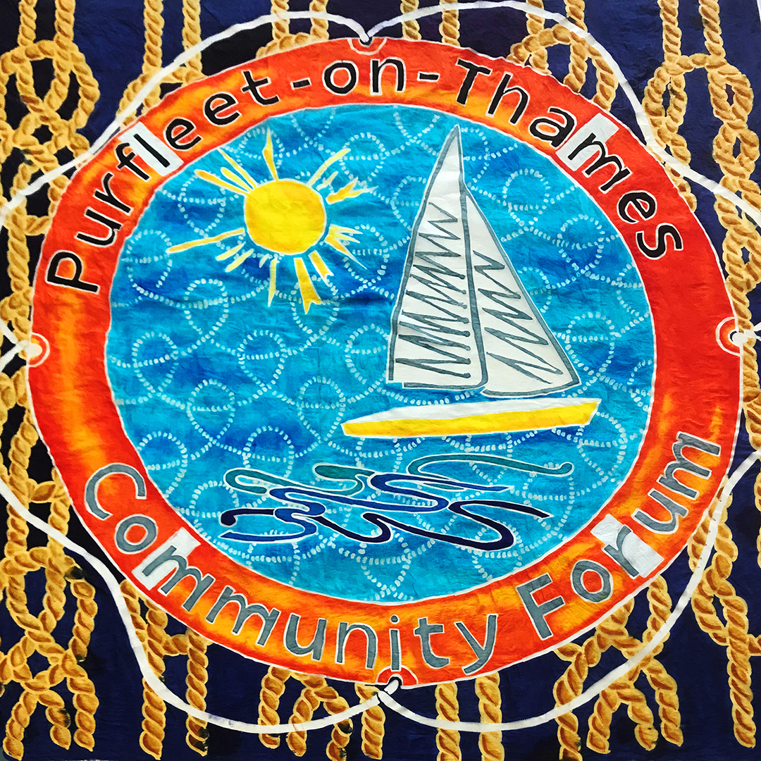 Purfleet-on-Thames community flag designed by Jacci Todd