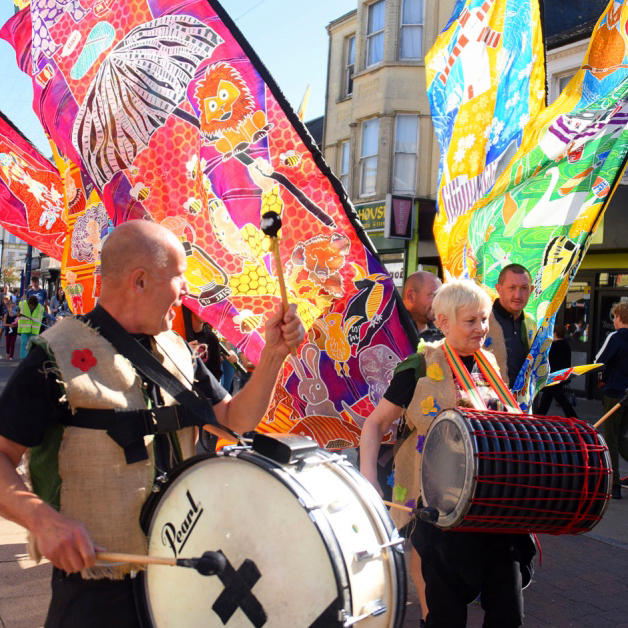Norwich flags at Great Yarmouth Carnival