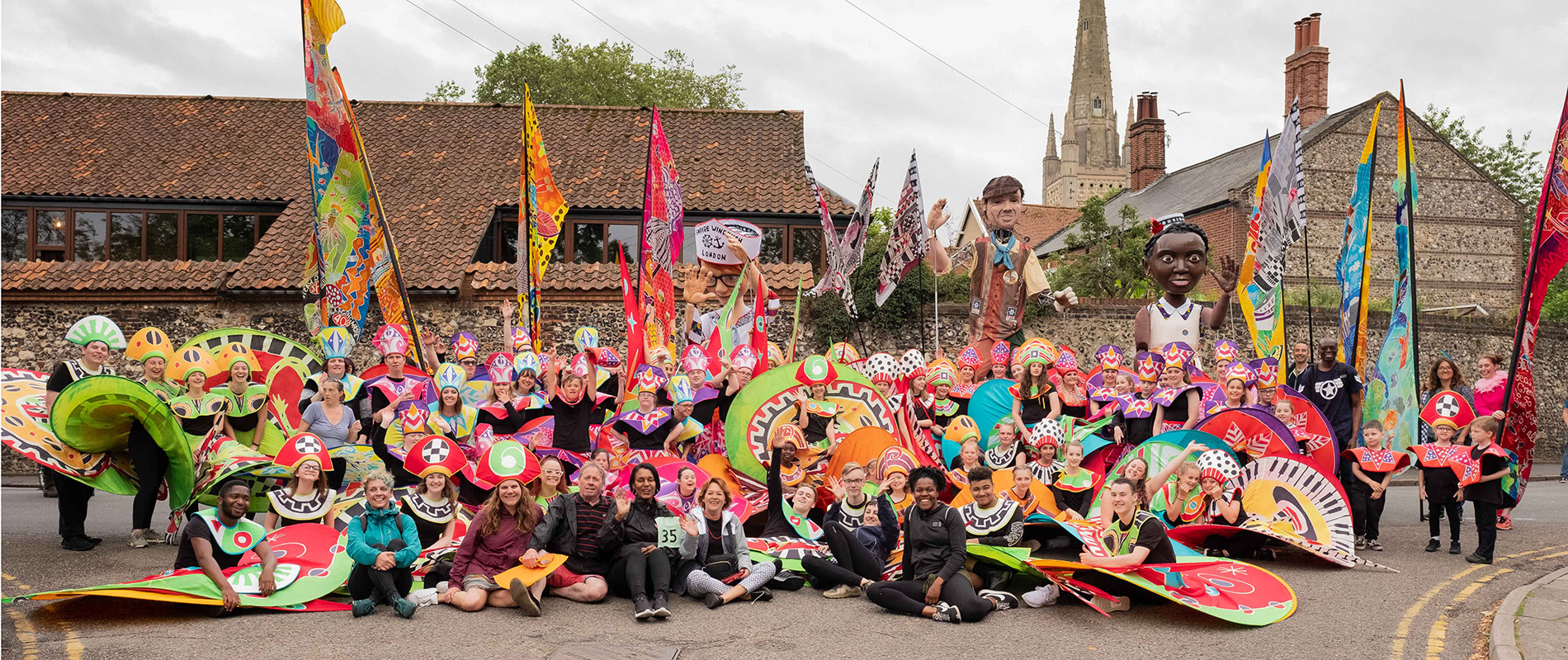 Norwich flags carnival group photo