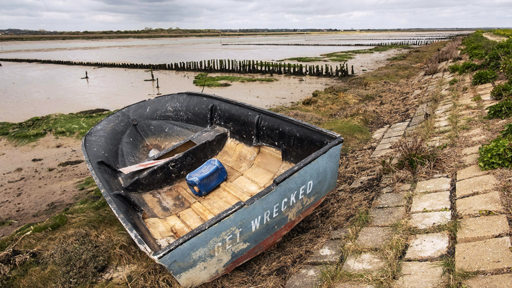 A washed up boat in Mersea