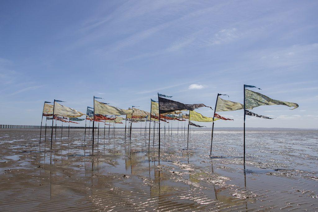 Silk pennants on a beach