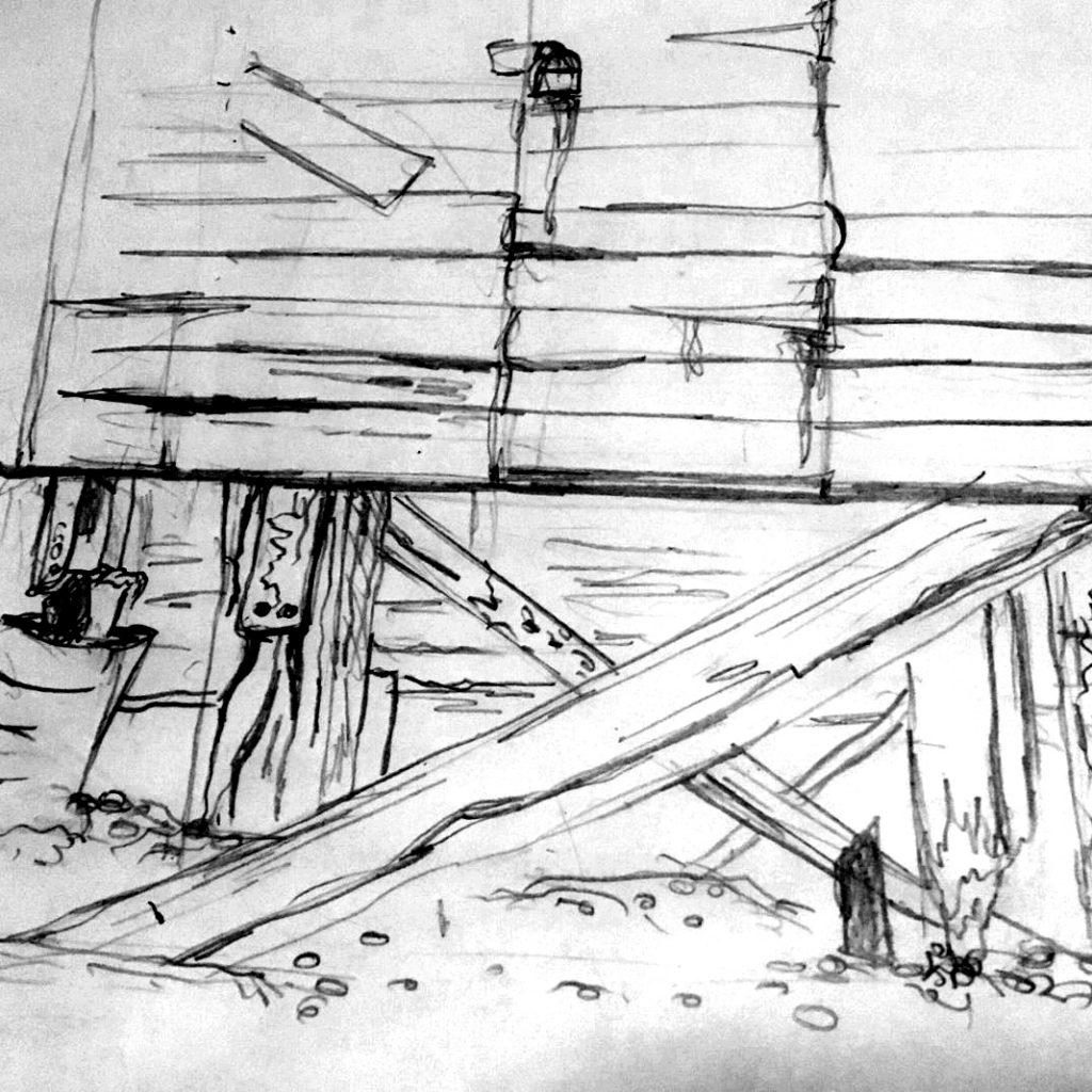Mile 391 Thorpe Bay Beach drawing by Sally Chinea