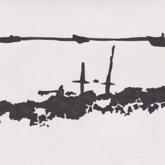 Mile 70 Woodbridge marshes drawing by Lucinda Devenish
