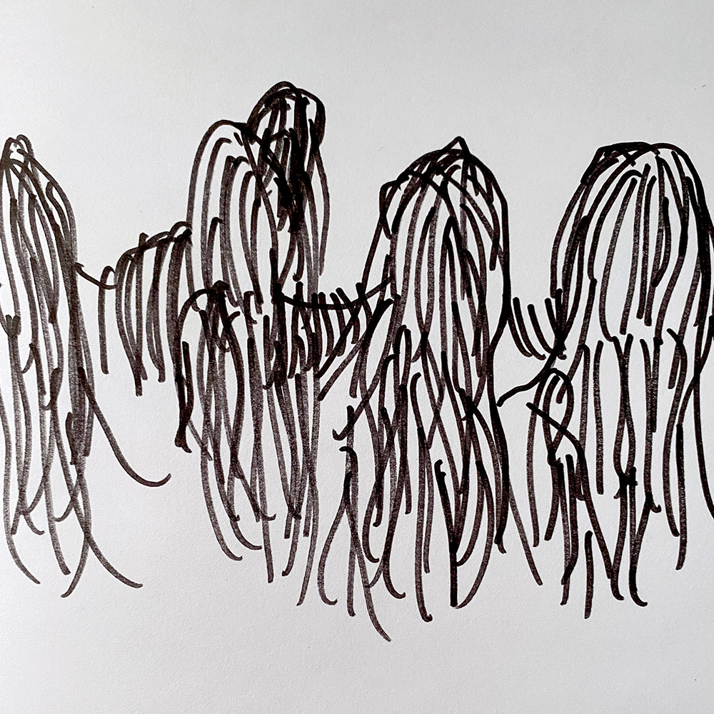 Mile 67 by Sonya Park Line drawing of seaweed covered structures