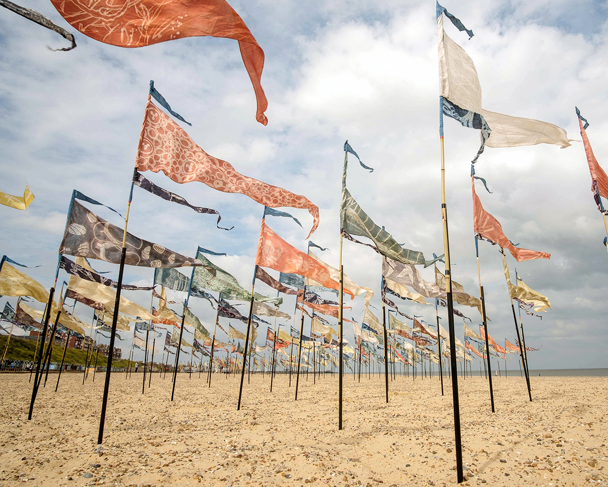 Beach of Dreams flag installation Lowestoft beach