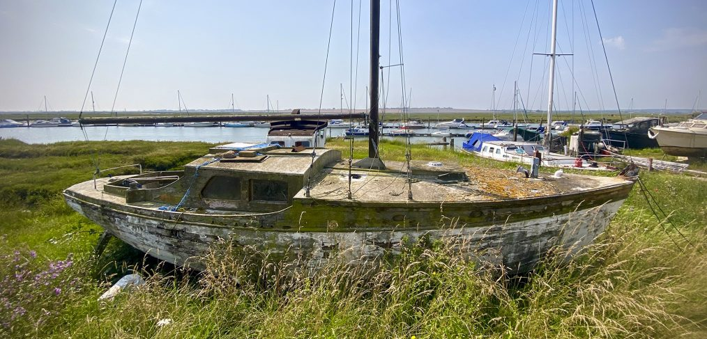 Boat awaiting restoration on the River Crouch credit Kevin Rushby