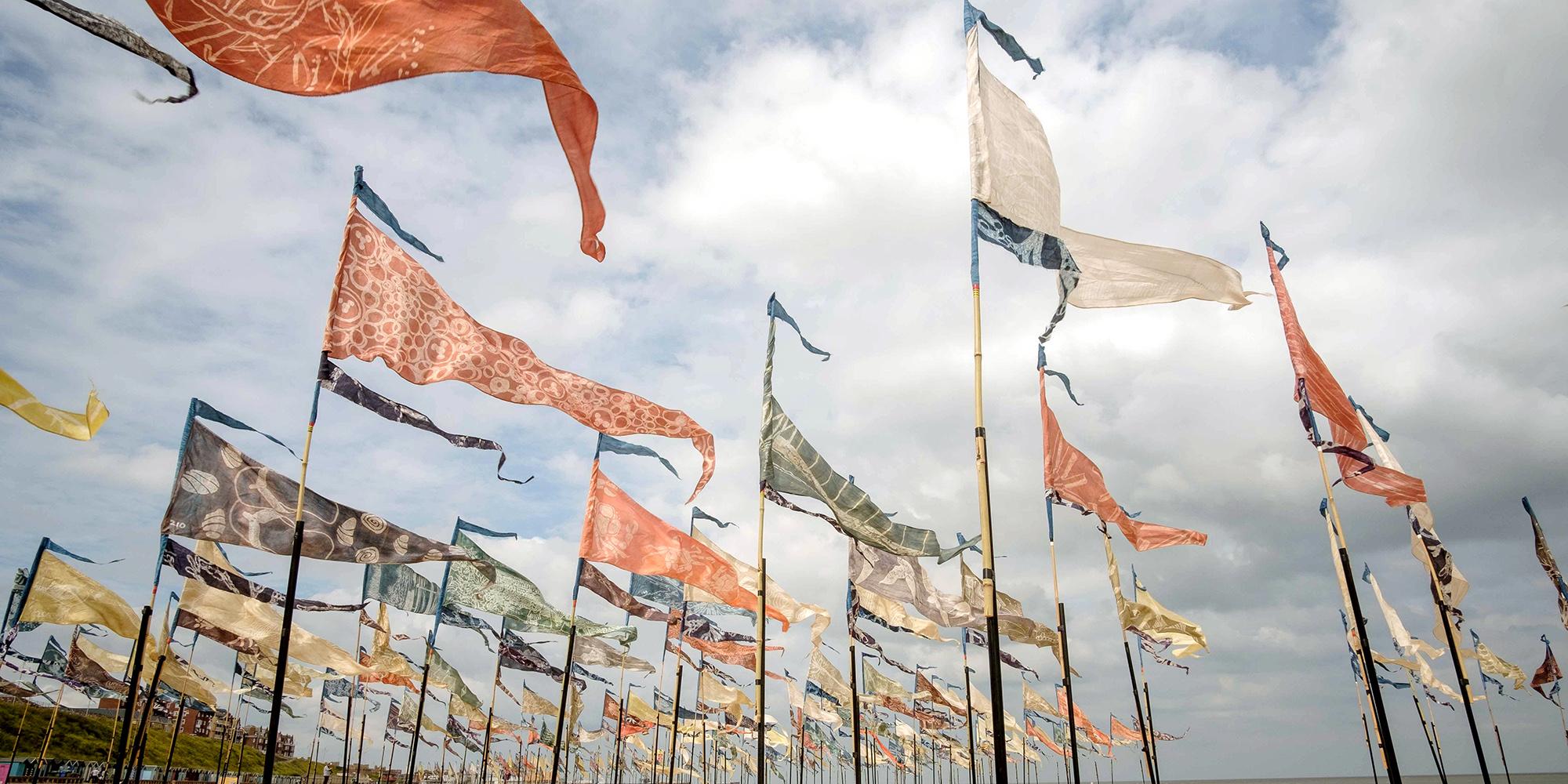 Beach of Dreams flag installation Lowestoft