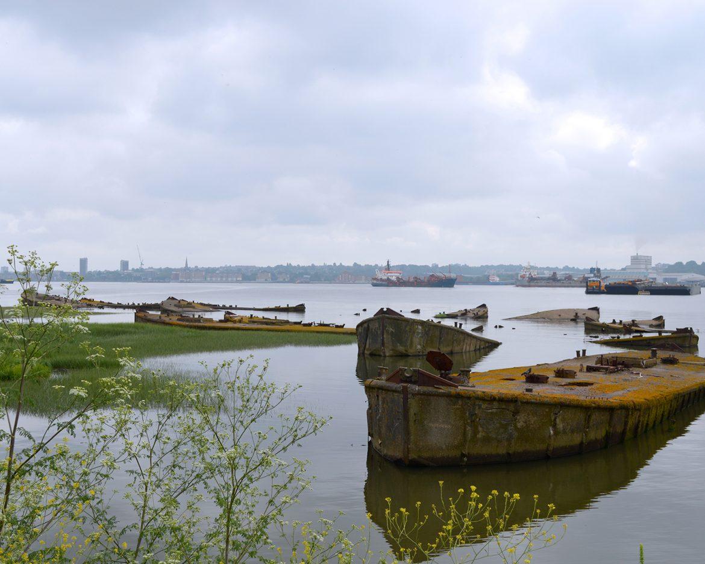 Sunken barges at Rainham Marshes credit Mike johnston