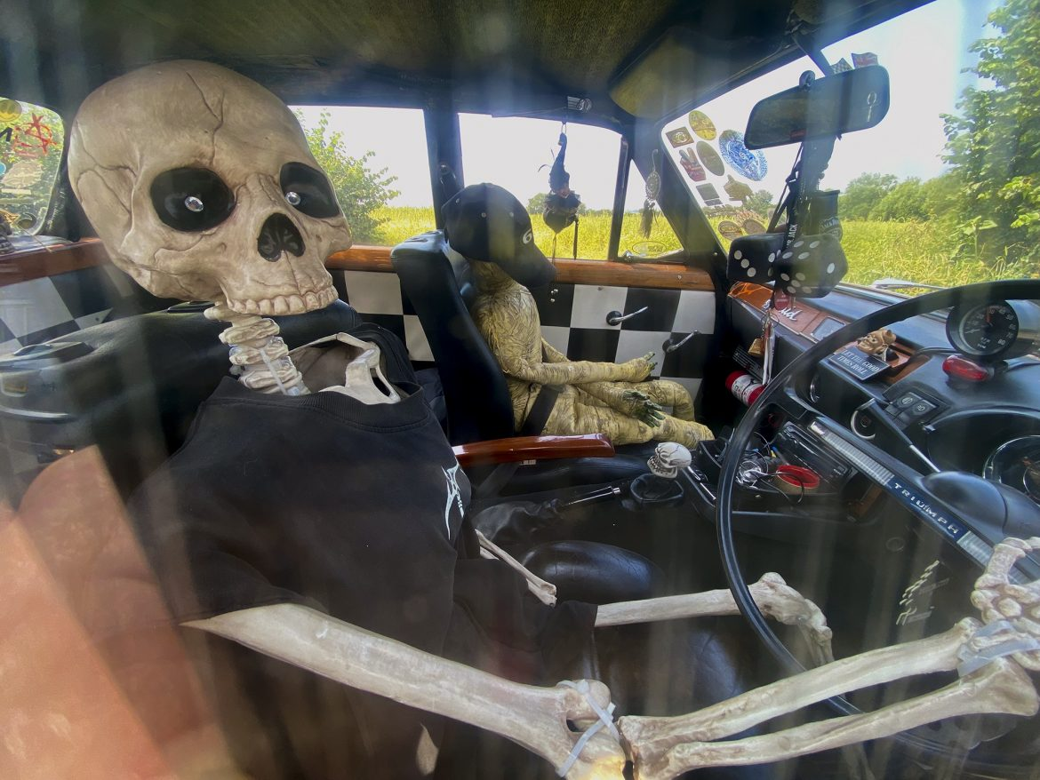 Skeleton in a triumph South Fambridge credit Kevin Rushby