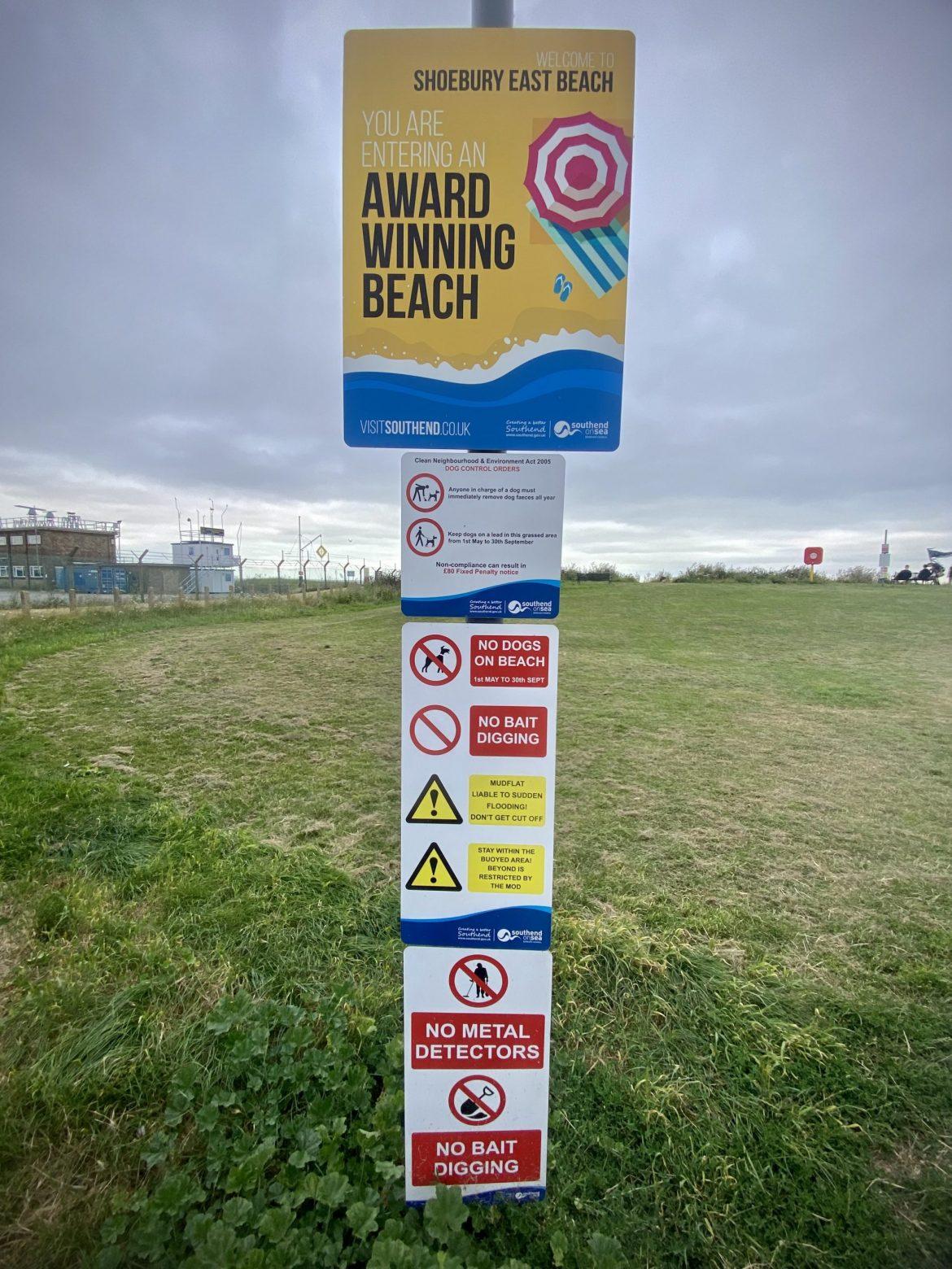 Sign at Shoeburyness Beach