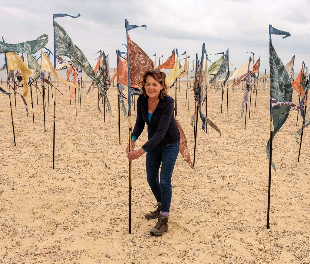 Ali Pretty surrounded by flags on Lowestoft beach